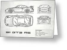 911 Gt3 Rs Blueprint - White Greeting Card