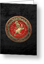 Western Zodiac - Golden Leo - The Lion On Black Velvet Greeting Card