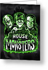 House Of Monsters Frankenstein Dracula Phantom Horror Movie Art Greeting Card