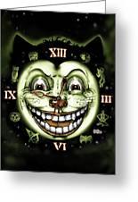 Black Cat 13 Halloween Clock Greeting Card