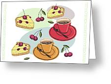 Black Cherry Pie And A Steaming Hot Cup Of Coffee Greeting Card