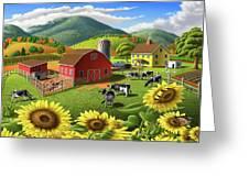 Sunflowers Cows Appalachian Farm Landscape - Rural Americana - Farm Animals - 1950 Farm Life - Barn Greeting Card