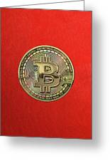 Gold Bitcoin Effigy Over Red Canvas Greeting Card