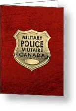 Canadian Forces Military Police C F M P  -  M P Officer Id Badge Over Red Velvet Greeting Card