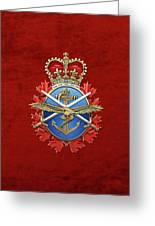 Canadian Armed Forces  -  C A F  Badge Over Red Velvet Greeting Card