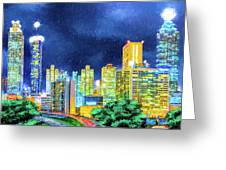 Atlanta Skyline At Night Greeting Card by Mark Tisdale