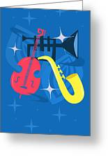 Jazz Composition With Bass, Saxophone And Trumpet Greeting Card
