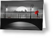 Summer Rain At The Bridge Greeting Card