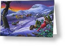 Christmas Sleigh Ride Winter Landscape Oil Painting - Cardinals Country Farm - Small Town Folk Art Greeting Card