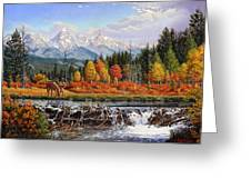 Western Mountain Landscape Autumn Mountain Man Trapper Beaver Dam Frontier Americana Oil Painting Greeting Card by Walt Curlee