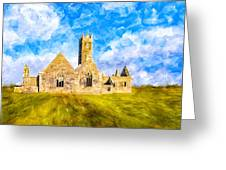 Irish Monastic Ruins Of Ross Errilly Friary Greeting Card
