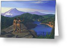 Native American Indian Maiden And Warrior Watching Bear Western Mountain Landscape Greeting Card