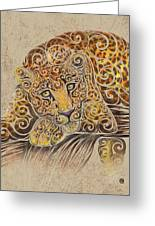 Swirly Leopard Greeting Card