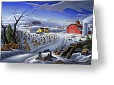 Folk Art Winter Landscape Greeting Card