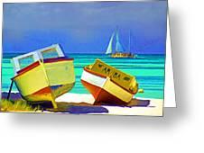 Aruba Boats Greeting Card