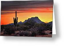 As The Sun Sets On Red Mountain  Greeting Card