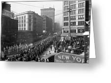 Asahel Curtis, 1874-1941, Draft Parade, Seattle Greeting Card