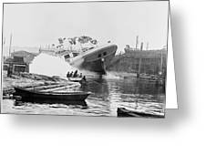 Asahel Curtis, 1874-1941, Launching Of The Minnie A. Cain Greeting Card