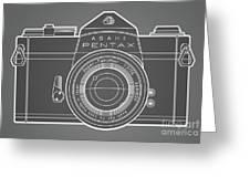 Asahi Pentax 35mm Analog Slr Camera Line Art Graphic White Outline Greeting Card