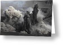 Ash Cloud Eruption On Yasur Volcano Greeting Card