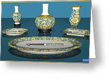 Asian Dining And Vases Greeting Card