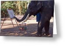 Asian Elephant Painting Picture Greeting Card