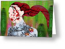 Asian Flower Woman Red Greeting Card