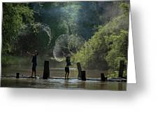 Asian Girl Playing Water In River Greeting Card