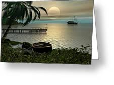 Asian Sunset Scene Greeting Card