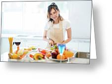 Asian Wife Prepare Salad And Spaghetti Greeting Card