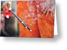 Asian Woman Holding Incense Sticks During Hindu Ceremony In Bali, Indonesia Greeting Card