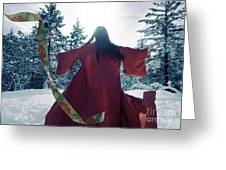 Asian Woman In Red Kimono Dancing In The Snow Spinning Around To Greeting Card