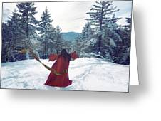 Asian Woman In Red Kimono Dancing On The Snow In The Forest Greeting Card