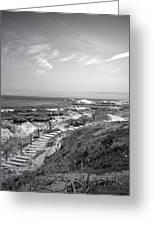 Asilomar Beach Stairway In Black And White Greeting Card