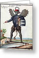 Asmodeus, King Of Demons, 18th Century Greeting Card