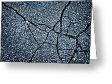 Asphalt Pavement With Cracks On The Surface Greeting Card