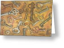 Assorted Skeleton Keys Greeting Card