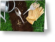 Assortment Of Garden Tools On Earth Greeting Card by Sandra Cunningham