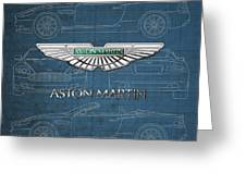Aston Martin 3 D Badge Over Aston Martin D B 9 Blueprint Greeting Card