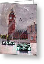 Aston Martin Racing In London Greeting Card