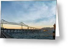 Astoria Megler Bridge By Riverwalk Panorama Greeting Card