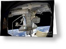 Astronaut Participates In A Spacewalk Greeting Card