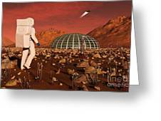 Astronaut Walking Across The Surface Greeting Card