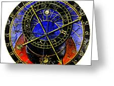 Astronomical Clock In Grunge Style Greeting Card