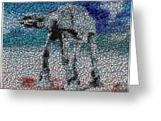 At-at Bottle Cap Mosaic Greeting Card by Paul Van Scott