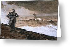 At High Sea Greeting Card by Winslow Homer