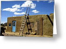 At Home Taos Pueblo Greeting Card by Kurt Van Wagner