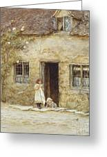 At The Cottage Door Greeting Card by Helen Allingham