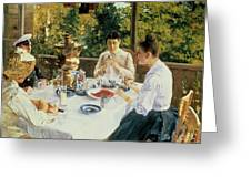 At The Tea-table Greeting Card