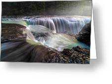 At The Top Of Lower Lewis River Falls Greeting Card
